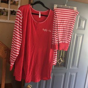 Sleep by Cacique 26/28 red & white pajamas
